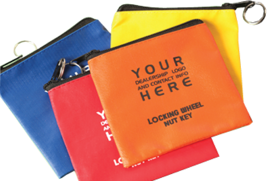 Vinyl Wheel Lock Key Pouch With Zipper
