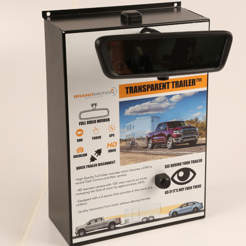 Brandmotion Transparent Trailer High-Definition Full Video Mirror and DVR